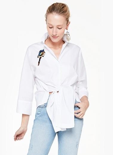 Desenli Önden Bağlamalı Gömlek-Twist
